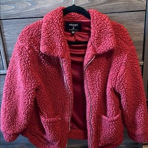 ashley red fuzzy sherpa